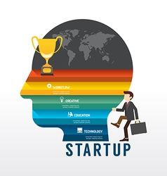 Startup Business design concept step on head shape vector image vector image