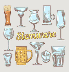 stemware hand drawn glasses vector image