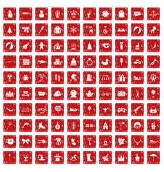 100 children icons set grunge red vector image vector image