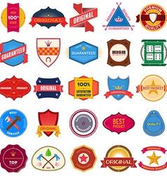 Big set of flat colored vintage labels vector image