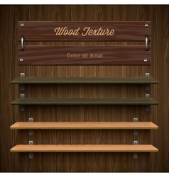 Blank wooden bookshelf vector image