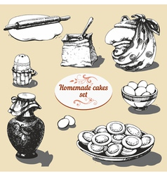 Homemade cakes set vector image vector image
