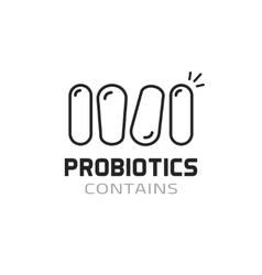 Probiotics label contains probiotic logo vector image vector image