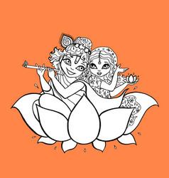 radha krishna hindu god vector image vector image