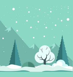 snowy winter forest vector image vector image