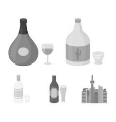 Tequila cognac beer vodkaalcohol set vector