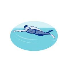 Triathlon athlete swimming freestyle side vector image