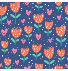 Valentine flowers and hearts vector image