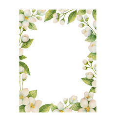 watercolor frame of flowers and branches vector image