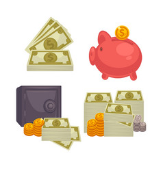 paper money and bag concept of bi vector image vector image