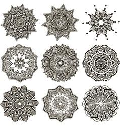 set of black and white mandalas vector image