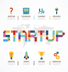 Startup Business design concept block alphabet vector image vector image