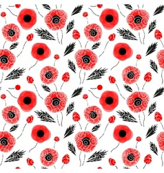 Abstract seamless pattern with a poppies vector image