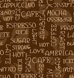 Coffee words seamless pattern vector image