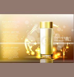 Design cosmetics glass bottle product advertising vector