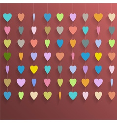 Hanging colorful hearts vector image
