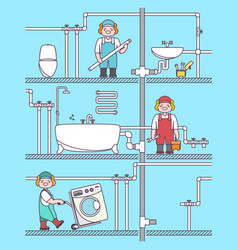 plumber worker cartoon character male character vector image