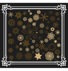 Snowflakes set with old frame vector image