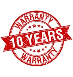 10 years warranty grunge retro red isolated ribbon vector