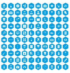 100 doctor icons set blue vector image