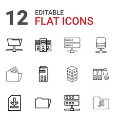 12 archive icons vector