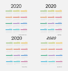 2020 calendar templatecalendar set 12 vector