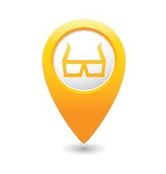 3d cinema glasses icon yellow pointer vector