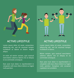 active lifestyle poster mother daughter father son vector image