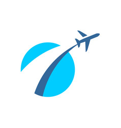 Airplane fly out logo plane taking off stylized vector