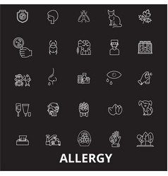 allergy editable line icons set on black vector image