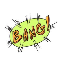 bang word on exploding balloon vector image
