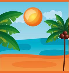 beach palm tree ocean sand landscape vector image