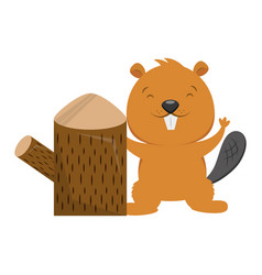 beaver and tree stump on white background vector image