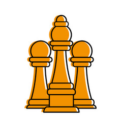 bishop and pawns chess piece icon image vector image