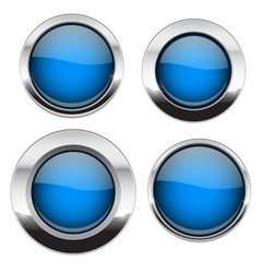 blue buttons with chrome frame round glass shiny vector image