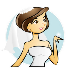 Bride looking at wedding diamond ring vector