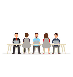 business people working together at the desk vector image