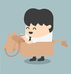 businessman riding the toy horse vector image