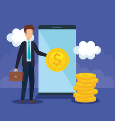 businessman with coins and smartphone vector image