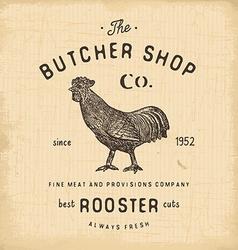 Butcher Shop vintage emblem rooster meat products vector image
