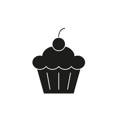 cake with cherry black icon vector image