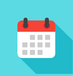 Calendar icon flat design isolated with long vector
