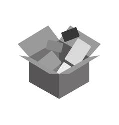Carton box with envelopes icon vector