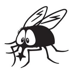 Cartoon fly black white vector