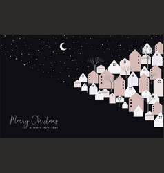 christmas and new year card of city on xmas eve vector image