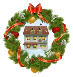Christmas Wreath with House vector