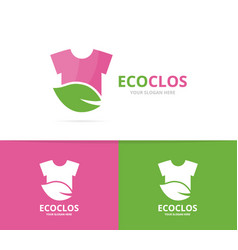 Cloth and leaf logo combination shirt vector