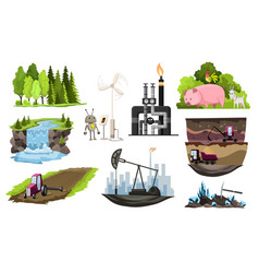 Collection natural resources design vector