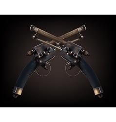 Cross old vintage gun on brown vector image