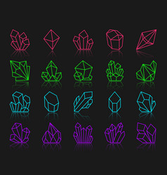 Crystal simple color line icons set vector